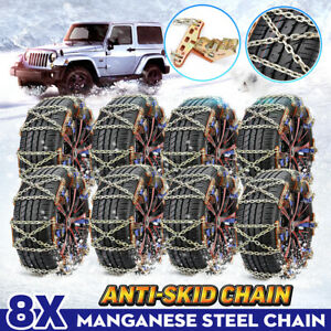 8x Car Tire Snow Chains Anti skid Wheel Safety Chain Wear resistant Steel Winter