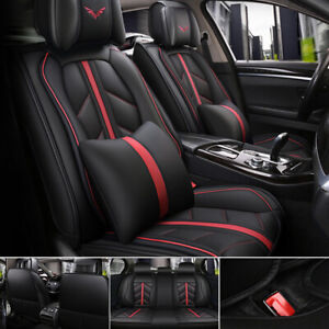 Universal Car 5 Seat Covers Full Set Cushion Cover Perforated Breathable Leather