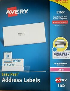 Avery 5160 easy Peel Address Labels 1 X 2 5 8 60 Labels 2 Sheets