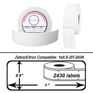 Zebra Eltron 1x0 5 1 X 1 2 Direct Thermal Labels 1 Roll Of 2430