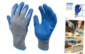 G F 3100m 10 Rubber Latex Coated Work Gloves For Construction Blue Crinkle P