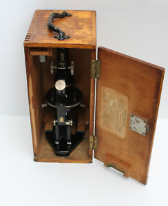 Vintage Antique German Microscope With Wood Case