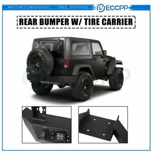 For 07 18 Jeep Wrangler Jk unlimited Rear Bumper Tire Carrier W Led Guard