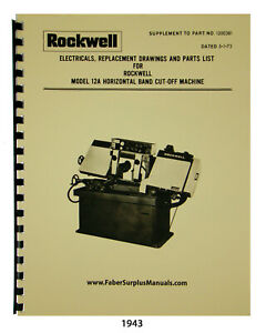 Rockwell Delta Horizontal Bandsaw 12a Electric Diagrams Part List Manual 1943
