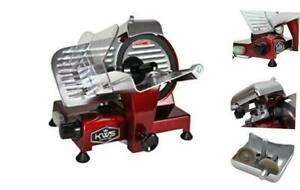 Kws Ms 10xt Premium Commercial 320w Electric Meat Slicer 10 inch In Red With Non