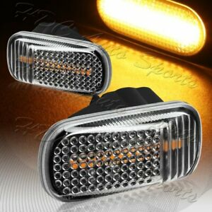 For 2001 2009 Honda Civic Black clear Amber Led Turn Signal Side Marker Lights
