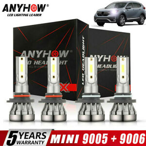 4pcs Combo 9005 9006 Ice Blue 8000k Cob Led Headlight Kit Bulbs High Low Beam