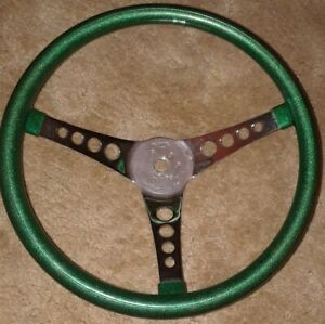 Vintage Superior Performance The 500 Metal Green Sparkle Steering Wheel 14 5