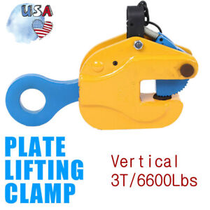 6600lbs Industrial Vertical Plate Lifting Clamp Stable 180 Rotation Brand New
