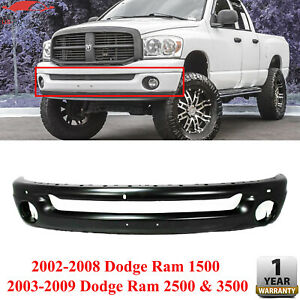 Front Bumper Primed Steel For 2002 2008 Dodge Ram 1500 2003 2009 2500 3500