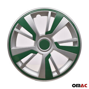 15 Hubcaps Wheel Rim Cover Grey With Green Insert 4pcs Set