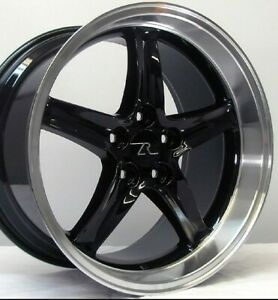 18 Black Mustang Cobra R Deep Dish Replica Wheels 18x9 18x10 5x114 3 Sn95 94 04