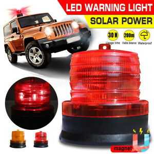 Led Solar Panel Car Bus Emergency Warning Strobe Light Beacon Alarm Flash