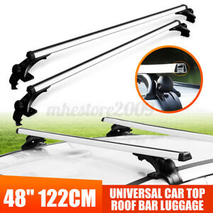 48 Universal Car Top Roof Rack Cross Tube Bar Cargo Luggage Carrier Silver