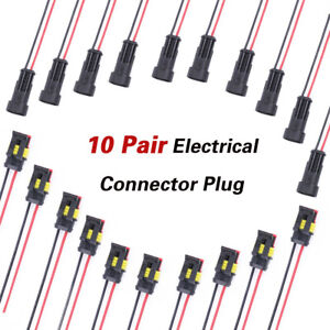 10 Pair 2pin Waterproof Electrical Connector Plug Male Female 4 20awg Wire Set