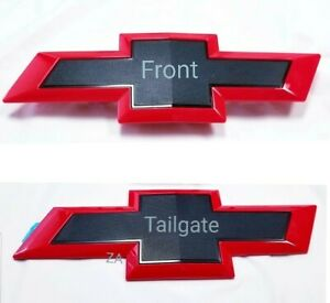 Black Red Front tailgate Grill Bowtie Emblem Badge Fit Silverado1500 2500 3500