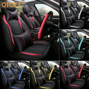 Universal Deluxe Pu Leather 5 Seats Car Seat Cover Front Rear Cushion Full Set