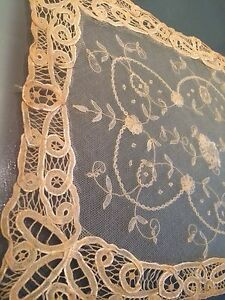 Antique Princess Lace Brussels Doily Tray Runner Table Scarf Chic Shabby