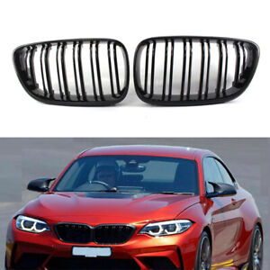 Glossy Black Dual Slat Front Kidney Grille For Bmw 2 Series F23 F22 M2 14 18 16