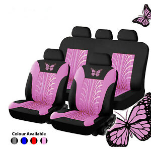 Universal Car Seat Covers Blue pink Butterfly Prints For Women Girls Car Truck