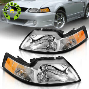 For 1999 2004 Ford Mustang Chrome Housing Headlights Amber Corner Signal Lamps
