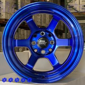Mst Wheels Time Attack 15x8 0 Blue Step Lip 4x114 3 Stance Fit Nissan 240sx S13