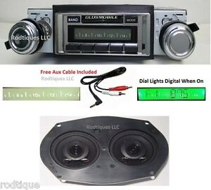 1970 1972 Cutlass Radio Dual Dash Speaker Free Aux Cable 230 Stereo