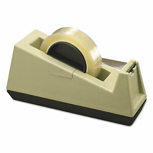 Heavy duty Weighted Desktop Tape Dispenser 3 Core Plastic Putty brown C25
