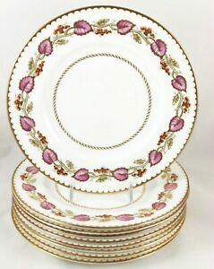 Hand Painted Set 8 Salad Plates Royal Worcester China Montpelier Z2062 Pink Gold