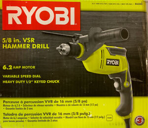 Ryobi D620h 6 2 amp Corded 5 8 Variable Speed Hammer Drill New Open Box