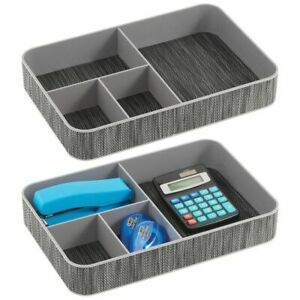 Mdesign Plastic Divided Office Drawer Organizer Tray 4 Sections 2 Pack Black