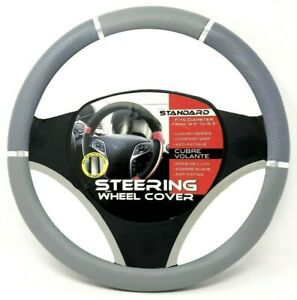 Gray Chrome Accent Car Steering Wheel Cover Pu Leather Size M 14 5 15 5