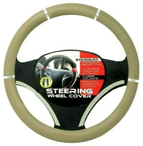 Tan Beige Chrome Accent Car Steering Wheel Cover Pu Leather Size M 14 5 15 5