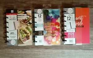 Lot Of 3 Mambi The Happy Planner 2020 Dashboard Fitness Foodie Happy Notes