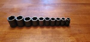 Snap on Tools 1 2 Drive Sae Shallow 6 point Impact Socket Set 7 16 1