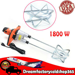 Electric Mortar Mixer 1800w Dual High Low Gear 2 Speed Paint Cement Grout 2speed