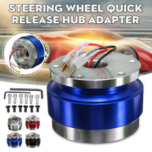 Universal Car Steering Wheel Aluminum Quick Release Hub Adapter Snap Off Blue