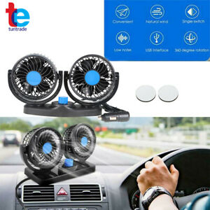 Dual Head Car Fan Portable Vehicle Truck 360 Rotatable Auto Cooling Cooler 12v