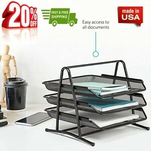 3 Tier Desk Tray Office Organizer Desktop Document Stackable Letter Tray black