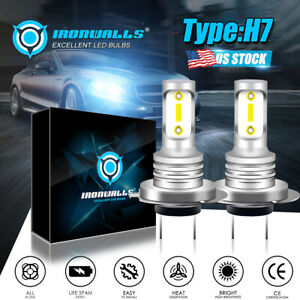 New Supe Bright H7 Led Headlight Bulbs Kit Fog Light 100w 10000lm 6000k White