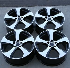 Set Of 4 17x7 5 5x112 42 Black Machine Wheels Fit Vw Jetta Golf Cc Gti Passat