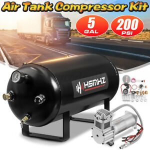 5 G Air Tank 200 Psi Compressor Loud System Kit For Train Truck Rv Horn 12v