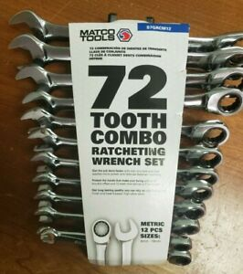 New Matco 12pc 72 Tooth Metric Combo Ratcheting Wrench Set Storage Track