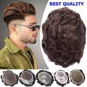 US SALE 100% Human Hair Replacements System Wig Mens Toupee Fine Mono Lace Poly $27.13