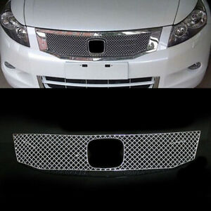 Stainless Steel Mesh Front Grill Grille Retrofit Fit For Honda Accord 2008 2010