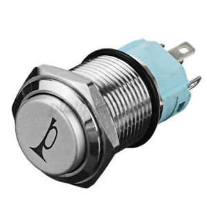 12v 16mm Blue Led Light Car Momentary Push Button Air Horn Switch Control Metal