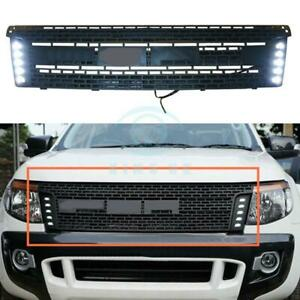 For Ford Ranger T6 2012 2014 Black Front Grille Replace Trim With Led A