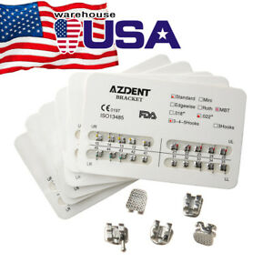 Azdent Dental Orthodontic Metal Brackets Standard Mbt 022 Hooks 3 4 5 Braces