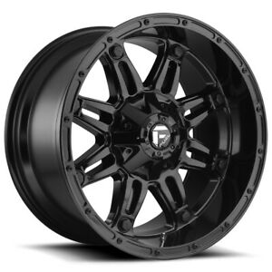 4 Fuel D625 Hostage 18x9 6x135 6x5 5 12mm Gloss Black Wheels Rims 18 Inch