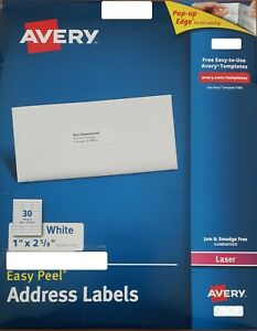 Avery Easy Peel Address Labels 1 X 2 5 8 120 Labels 5160